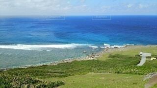 自然,海,空,屋外,海岸,沖縄,草,丘,背景,旅行,おきなわ,家族旅行,眺め,与那国島