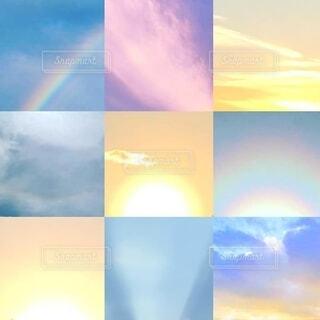 いろいろな空を集めてレイアウトの写真・画像素材[4070850]