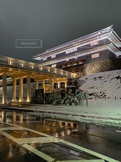 冬,夜,橋,雪,屋外,雪景色,城,石川県,金沢,北陸,金沢城,歴史的,尾山神社,アーキテクチャ,鼠多門