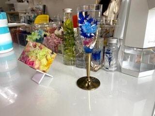 花,屋内,花瓶,アート,テーブル,キャンドル,食器,花柄,雑然,ハーバリウム