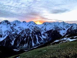 自然,風景,夕日,雪,山,旅,穂高連峰,奥穂高岳,涸沢岳