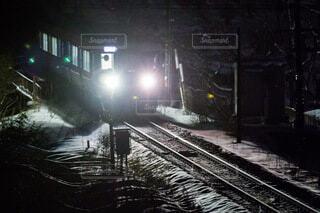 夜,雪,屋外,鉄道,レール