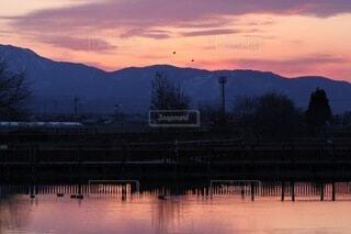 自然,風景,空,鳥,屋外,湖,雲,夕暮れ,水面,山,樹木,くもり,水鳥