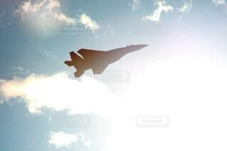 空,屋外,太陽,白,雲,青,飛行機,シルエット,逆光,航空機,日中,イーグル,F14,アフターバーナー