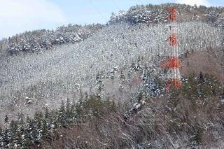 自然,空,冬,雪,屋外,山,鉄塔,紅白