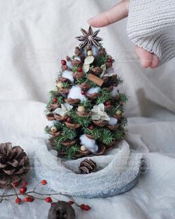 冬,布,松ぼっくり,クリスマス,ハンドメイド,クリスマス ツリー,テーブルツリー