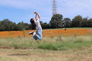 野原にフリスビーを投げる男の写真・画像素材[4175497]