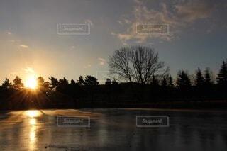 自然,風景,空,屋外,湖,雲,水面,樹木,正月,お正月,日の出,新年,初日の出