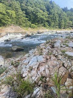 自然,風景,屋外,川,水面,山,樹木,岩,河川敷,草木