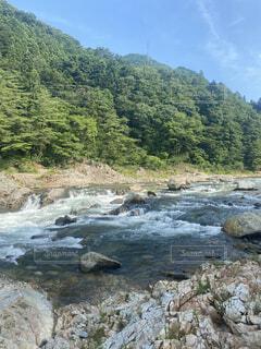 自然,風景,屋外,川,水面,山,景色,樹木,岩,急速