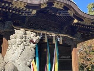 屋外,神社,青,像,お寺
