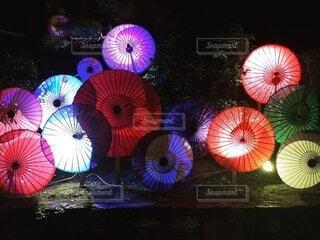 風景,夜,傘,イルミネーション,カラー