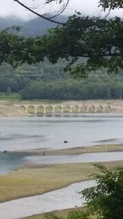 橋,屋外,湖,雲,川,水面,樹木,ダム,タウシュベツ