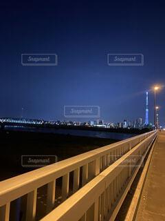 風景,空,夜,橋,夜景,スカイツリー,水面,タワー,高層ビル,街路灯