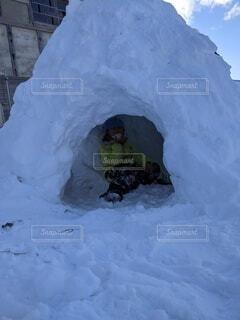 冬,雪,屋外,山,氷,子供,雪遊び,スキー,かまくら