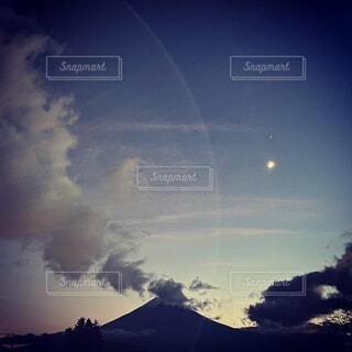 自然,風景,空,富士山,雲,夕暮れ,山,月