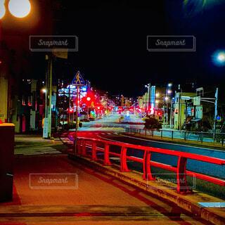 夜,屋外,暗い,都会,信号,明るい