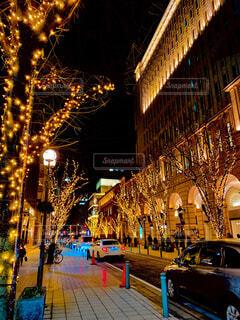 冬,夜,イルミネーション,都会,明るい,街路灯