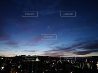 空,雲,青,田舎,山,星,朝焼け,月,街明かり