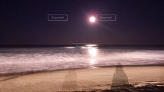 自然,海,冬,ビーチ,波,海岸,月,満月,オーストラリア,サーファーズパラダイス,冬の海,ゴールドコースト,南半球