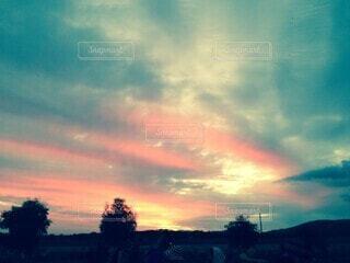 自然,風景,空,朝日,雲,青,青い空,オーストラリア,日の出,農場,アデレード