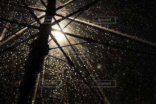 夜,雨,傘,屋外,雨粒