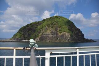 空,屋外,湖,雲,ボート,島,船,水面,山,旅行,眺め