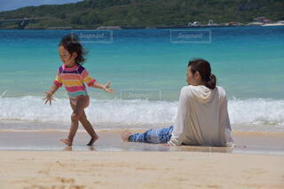海,夏,屋外,砂,ビーチ,砂浜,水面,海岸,少女,若い