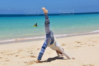 自然,海,空,屋外,砂,ビーチ,砂浜,水面,海岸,人,ヨガ