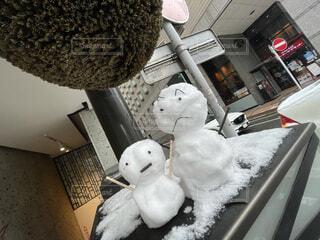 雪,雪だるま,#笑顔,昼休憩中