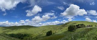自然,風景,空,緑,山,丘,高原,草木