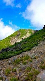 自然,風景,空,雲,山,岩,石,草木,山腹