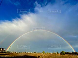 空,屋外,雲,青,虹,雨上がり,七色,日中,ダブル,二重