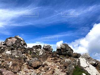 自然,風景,空,屋外,雲,青,山,登山,丘,岩,石,岩山,那須岳,茶臼岳,山腹