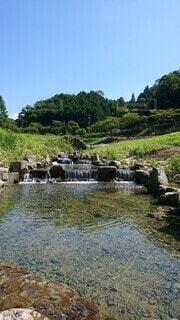 自然,屋外,川,水面,滝,岩