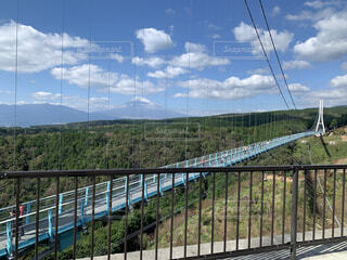 空,秋,橋,屋外,雲,青空,旅行,柵,吊り橋,三島,吊り橋効果
