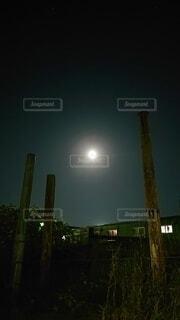 空,夜空,緑,月