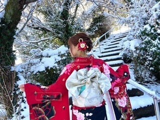 雪,屋外,イベント,和服,お祝い,晴れ着,成人式,和装,行事,成人の日