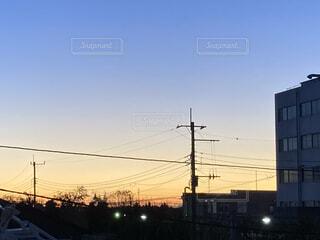 空,朝焼け,明るい,街路灯