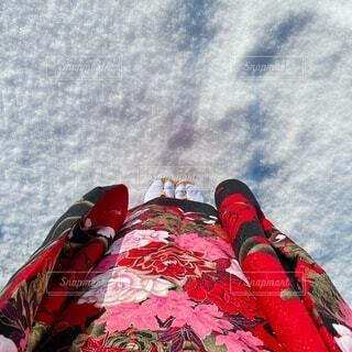 冬,雪,赤,黒,雪景色,イベント,和服,お祝い,晴れ着,振袖,成人式,和装,行事,成人の日
