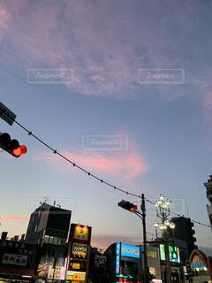 空,雲,夕暮れ,夕方,街