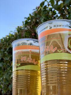 青空,ボトル,ビール,カップ,休日,テキスト