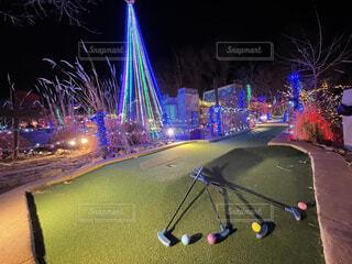 夜,屋外,綺麗,アメリカ,イルミネーション,クリスマス,ゴルフ,明るい,GOLF,ゴルフコース,ミニゴルフ