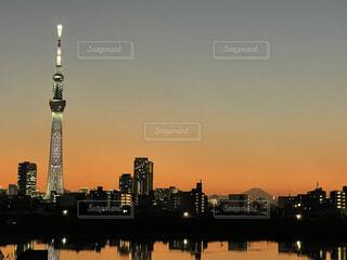 空,富士山,東京,スカイツリー,水面,タワー,荒川