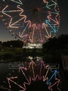 公園,秋,夜景,屋外,カラフル,綺麗,観覧車,散歩,池,レインボー,反射,美しい,ライトアップ,日本,景観
