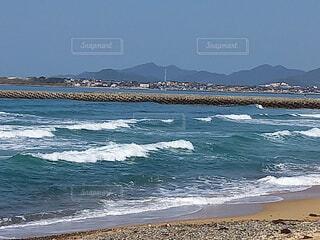 自然,風景,海,青空,砂浜,波,海岸,山,景色,陽射し,渚,日中,白波