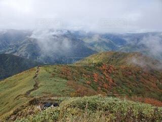 自然,風景,空,屋外,雲,霧,山,落ちる,山腹