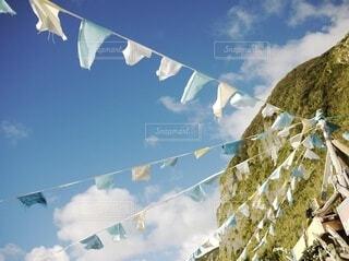 自然,空,屋外,雲,青空,青,山,旗,三角,離島,新島
