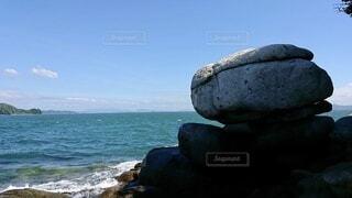 自然,風景,海,空,屋外,ビーチ,雲,青,水面,海岸,岩,ブルー,石,眺め