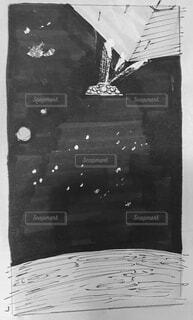 母船から射出される宇宙船のスケッチの写真・画像素材[4059398]
